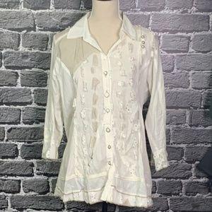 Parsley & Sage Ivory Embellished Top *MUST SEE* M